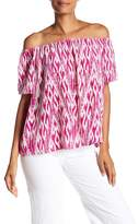 Joie Amesti B Silk Printed Off-the-Shoulder Blouse