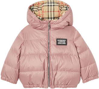 Burberry Girl's Check Reversible Puffer Coat, Size 6M-2