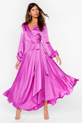 Nasty Gal Womens Long Cowl Back Wrap Dress with Long Sleeves - Purple