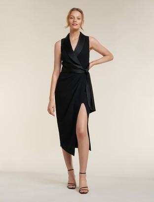 Forever New Rowena Tuxedo Satin Midi Dress - Black - 6