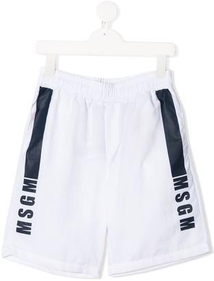 Msgm Kids Logo Print Elasicated Waist Swim Shorts