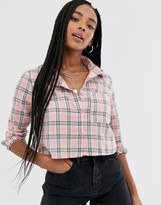 Daisy Street cropped long sleeve shirt in check
