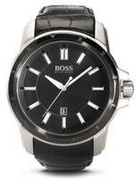 Hugo Boss 1512922 Black Crocodile Leather Strap Quartz Watch One Size Assorted-Pre-Pack