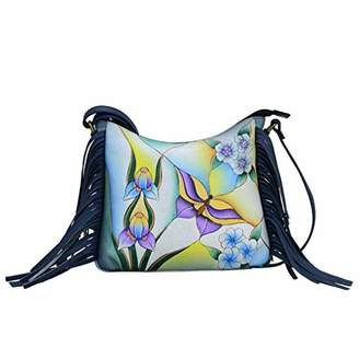 Anuschka Anna by Genuine Hand Painted Leather | Fringed Large Crossbody |