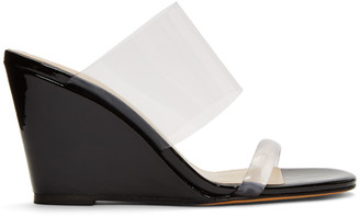 Maryam Nassir Zadeh Black Patent Olympia Wedge Sandals