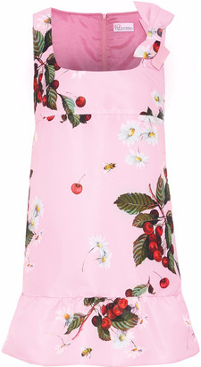 RED Valentino Bow-embellished Floral-print Faille Mini Dress