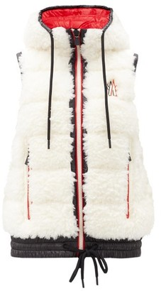 MONCLER GRENOBLE Logo-embroidered Faux-fur Down-filled Shell Gilet - White