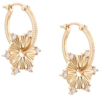 Foundrae 18kt yellow gold diamond small Disc hoop earrings