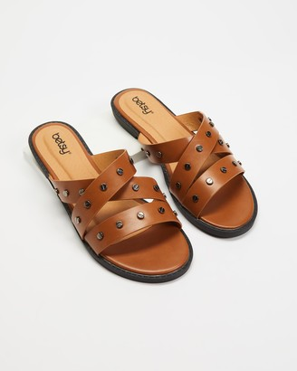 Betsy - Women's Brown Flat Sandals - Stud Slides - Size 38 at The Iconic