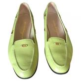Salvatore Ferragamo Green Leather Flats
