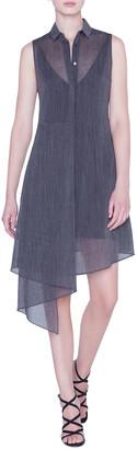 Akris Sleeveless Linen Illusion Shirtdress