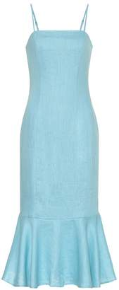 STAUD Lychee linen midi dress