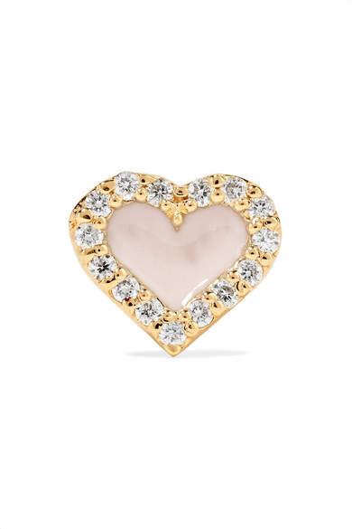 Alison Lou Heart 14-karat Gold, Diamond And Enamel Earring