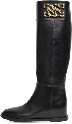 Casadei 30mm C Chain Leather Tall Boots