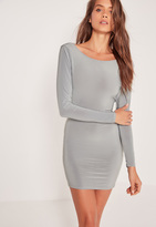 Missguided Cowl Back Slinky Bodycon Dress Silver