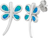 Lab-Created Blue Opal Sterling Silver Dragonfly Stud Earrings