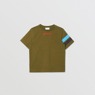 Burberry Childrens Logo and Stripe Print Cotton T-shirt