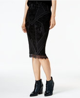 Bar III Velvet-Burnout Pencil Skirt, Only at Macy's