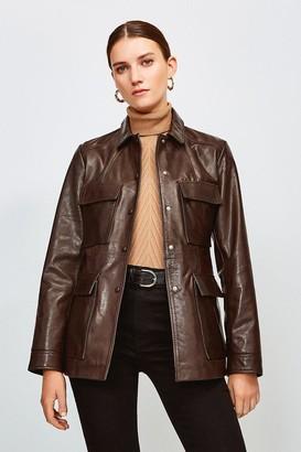 Karen Millen Leather belted Safari Jacket