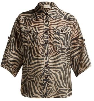Zimmermann Corsage Tiger-print Linen-blend Shirt - Womens - Animal