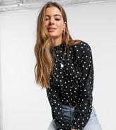 New Look Tall long sleeve blouse in black polka dot