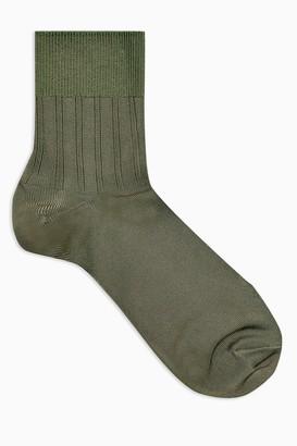 Topshop Green Slinky Ribbed Socks