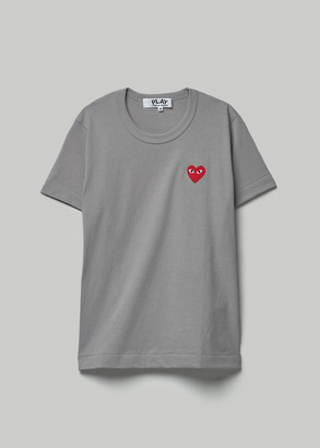 Comme des Garcons Women's Red Heart T-Shirt in Grey Size Small 100% Cotton