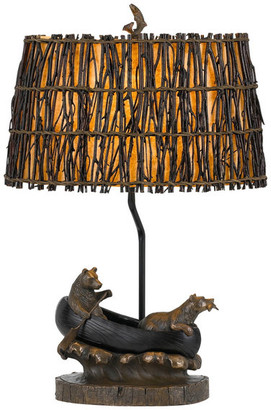 Cal Lighting & Accessories Bear In Canoe 1 Light Table Lamp in Antique Bronze
