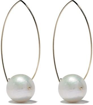 Mizuki 14kt Gold Pearl Hoop Earrings