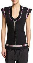 Isabel Marant Cap-Sleeve U-Neck Embroidered Top, Black