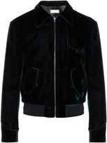 Saint Laurent Point-collar velvet bomber jacket