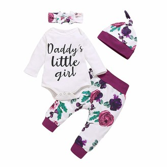 SSMENG Newborn Baby Girls Valentines Day Outfits Cute Letter Printed Romper Floral Harem Pants Headband Hats Outfits