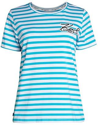 Karl Lagerfeld Paris Striped Logo T-Shirt