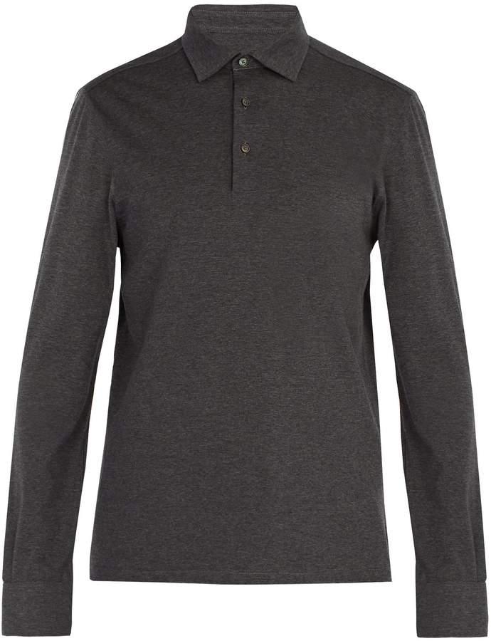 Ermenegildo Zegna Long-sleeved wool and cotton-blend polo shirt