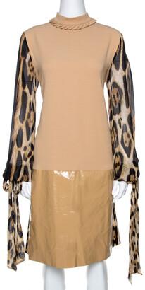 Just Cavalli Beige Crepe Paneled & Pleated Midi Dress M