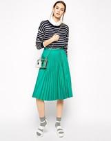 Antipodium Straight Edge Pleated Skirt With Zipper