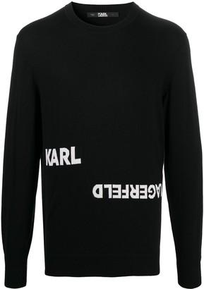 Karl Lagerfeld Paris Logo Intarsia Rib-Trimmed Jumper