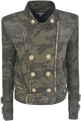 Balmain Double-breasted Camouflage Zip Jacket