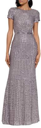 Betsy & Adam Sequined Powermesh Column Gown