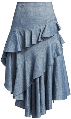 AMUR Winslow High-Waist Ruffle Tiered Midi Skirt