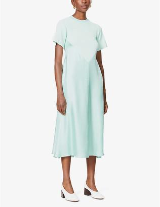 Sportmax Elettra silk-satin and knitted midi dress