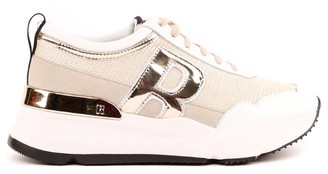 Ruco Line Beige Sneakers In Lurex Fabric And Leather