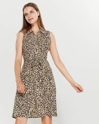 Nanette Lepore Nanette Cheetah Sleeveless Pintuck Shirtdress