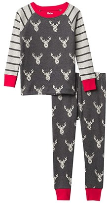 Hatley Patterned Stags Raglan PJ Set (Toddler/Little Kids/Big Kids) (Grey) Boy's Pajama Sets