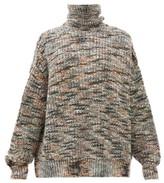 Raey Oversized Roll-neck Marled Sweater - Womens - Grey Multi