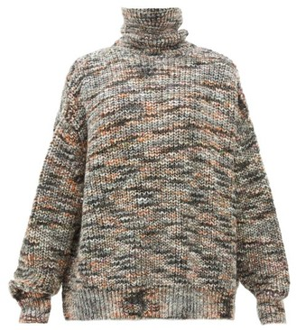 Raey Oversized Roll-neck Marled Sweater - Womens - Grey Multi