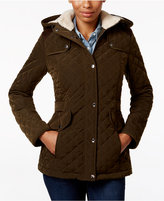 Laundry by Design Petite Faux-Fur-Lined Quilted Coat