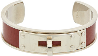 Hermes Palladium-Plated & Burgundy Enamel Kelly Cuff