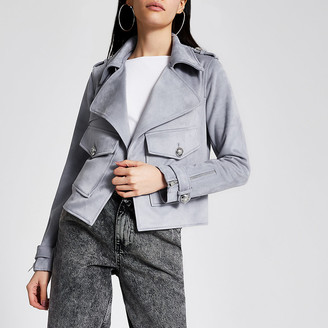 River Island Grey suedette pocket front cropped jacket