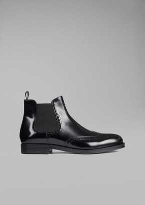 Giorgio Armani Beatles Boot In Brushed Leather With Wingtip Broguing